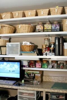 craft room organization, craft rooms, organizing, storage ideas, Baskets for storage and waist high counter top for working