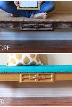 makeover an old coffee table into a bench, painted furniture, repurposing upcycling