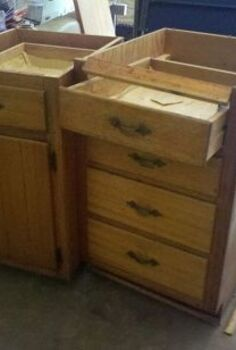 old base cabinets repurposed to kitchen island, diy, how to, kitchen cabinets, kitchen design, kitchen island, outdoor furniture, painted furniture, repurposing upcycling, rustic furniture, woodworking projects, These cabinets were in really rough shape but solid enough to work with And they were free