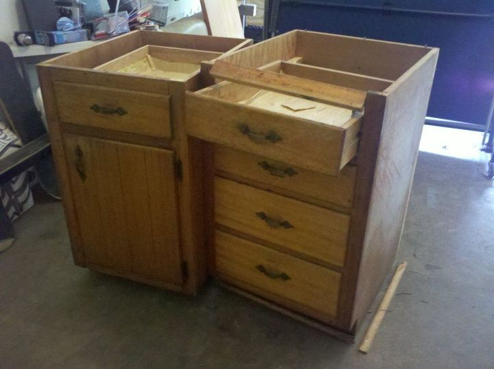 Old Base Cabinets Repurposed to Kitchen Island | Hometalk