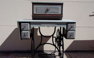 vintage treadle sewing machine turned into flower planter, flowers, gardening, painted furniture, repurposing upcycling
