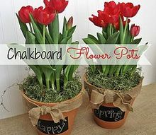 a fun and easy gift idea chalkboard flower pots, chalkboard paint, crafts, flowers, gardening, A message on the chalkboard accompanies some pretty flowers
