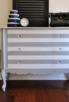grey amp white striped dresser, chalk paint, painted furniture