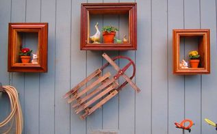 old picture frames made into wall plant hangers, home decor, new use for old frames