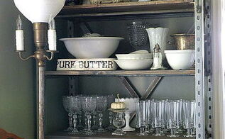 an industrial shelf in the dining room, home decor, painted furniture, shelving ideas