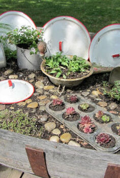 top flower junk garden posts 2012, container gardening, flowers, gardening, repurposing upcycling, succulents, The Kitchen Fairy Garden was my first Hometalk post to be featured See how I used a half barrel and vintage kitchen utensils to create a fairy garden http organizedclutterqueen blogspot com 2012 05 kitchen fairy garden html