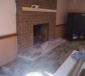 As The Fireplace Surround Is Re Faced, Concrete Masonry, Fireplaces  Mantels, Home Decor