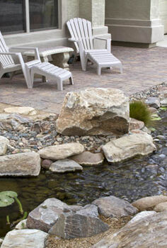 create a backyard oasis with a pond, landscape, outdoor living, ponds water features, When you re not out on the patio enjoying the view open the windows to hear the soothing sound of the waterfall