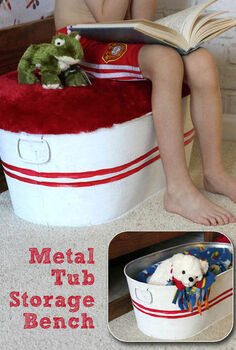 galvanized tub storage bench, diy, how to, repurposing upcycling