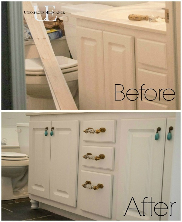 How To Transform A Builder Grade Bathroom Vanity For Less Bathroom Ideas Painted Furniture