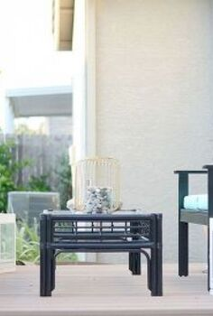 our colorful repurposed deck makeover revealed, decks, outdoor furniture, outdoor living