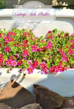 vintage sink planter, flowers, gardening, repurposing upcycling