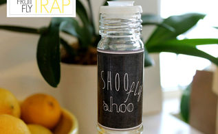 shaker bottle fruit fly trap, pest control, repurposing upcycling, A cute label completes the trap