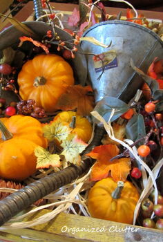 re purposed funnels as fall cornucopia, repurposing upcycling, seasonal holiday decor, Funnels raffia mini pumpkins and gourds faux berries leaves acorns and pinecones fill the crate and the cornucopias