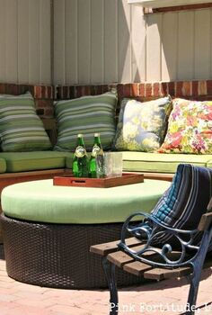 mud pit to built in bench, decks, outdoor furniture, outdoor living, painted furniture, patio