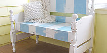 turn that unwanted twin bed into a useful bench, decks, outdoor furniture, painted furniture, repurposing upcycling, Loving the beachy colors