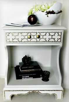 6 nailhead table makeover, home decor, painted furniture, I turned a hand me down nightstand into a chic entry table for just 6