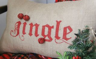pottery barn inspired jingle pillow, seasonal holiday d cor, Just add a few flourishes with a red Sharpie hot glue the jingle bells and taaa daaa holiday fun