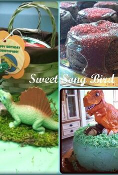 a dino mite party, crafts, Lava cakes and a Dino cake were served