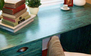 use a wood graining tool to put wood grain on anything, painted furniture, tools, Wood graining tool used on an Ikea desk
