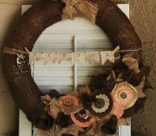 diy burlap wreath by gallamore west, crafts, wreaths, Mixed Media Autumn Burlap Wreath