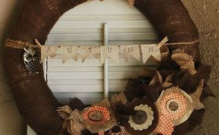 diy burlap wreath by gallamore west, crafts, wreaths, Mixed Media Autumn Burlap Wreath
