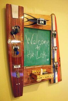 repurposed vintage water ski yardsticks chalkboard, chalkboard paint, crafts, repurposing upcycling, Repurposed Vintage Water Ski Yardsticks Chalkboard by GadgetSponge com
