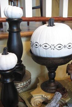 white painted pumpkins for fall, crafts, seasonal holiday decor, Vignette on the foyer table