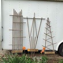 garden trellises made from bean poles, gardening, repurposing upcycling