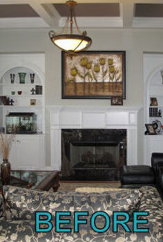 what designers know, home decor, BEFORE builder grade white bookcases and mantel