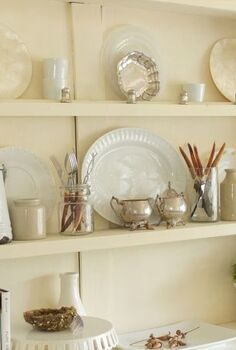 neutral fall decor, seasonal holiday decor, White beige and silver are the base for my hutch