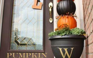 make a pumpkin topiary, seasonal holiday d cor, Pumpkin Topiary Monogramed Urn