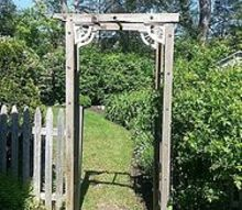 re purposed ladder becomes trellis, outdoor living, repurposing upcycling, Voila View from side yard towards back yard
