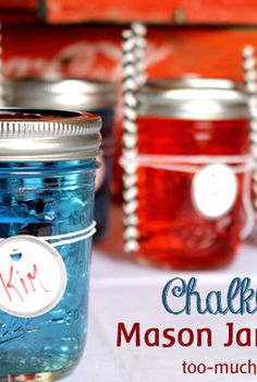 chalkboard mason jar glasses, chalkboard paint, crafts, mason jars, patriotic decor ideas, repurposing upcycling