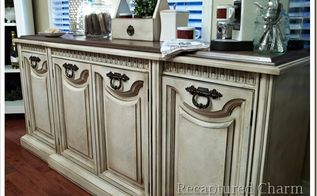 old buffet to new coffee station, painted furniture, Finished Plywood tops the buffet which was painted and glazed to give an antique look