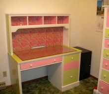 inexpensive craftroom makeover, craft rooms, home decor, painted furniture, Re painted Sauder desk