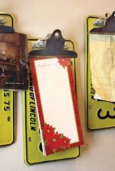 repurposed upcycled license plate clipboards, repurposing upcycling, These are fun ways to display interesting things or to get organized and keep your counters cleaner