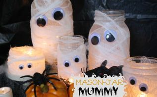 mason jar mummy lanterns, crafts, halloween decorations, mason jars, seasonal holiday decor, Mason Jar and smaller jars are the perfect size for this family of Mummy Lanterns