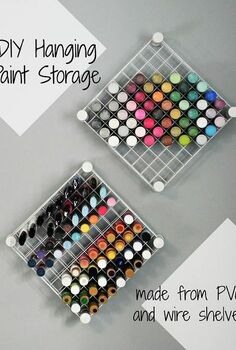 diy hanging craft paint storage, shelving ideas, storage ideas, DIY Hanging Paint Storage