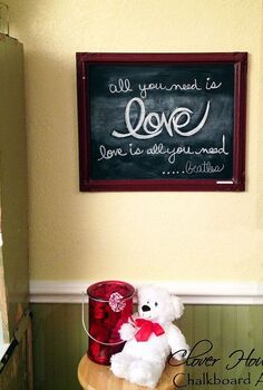 chalkboard art for valentine s decorating, chalkboard paint, crafts, seasonal holiday decor, valentines day ideas, Valentine Chalkboard Art in the dining room