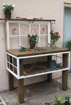 vintage tool potting bench, gardening, painted furniture, repurposing upcycling, rustic furniture