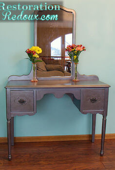 vintage silver vanity, painted furniture