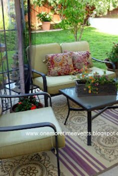 backyard living, outdoor furniture, outdoor living, painted furniture