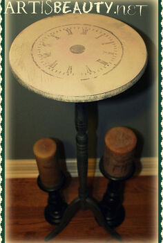 dumpster dive table turned clock face beauty, crafts, home decor, painted furniture, Freezer paper transfer clock face