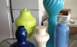pots for my fountain, outdoor living, repurposing upcycling, These are the lamp bases after painting I didn t get a picture of the green and dark blue one The dark blue one is actually a large glass vase that I painted You can see the stacked lamps the swirl goes the same way