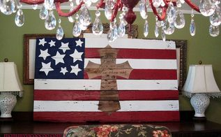 how to make an american flag from a pallet, crafts, pallet, patriotic decor ideas, repurposing upcycling, seasonal holiday decor, The complete American Flag on the buffet in my formal dining room I love the juxtaposition of the big trash day pallet with my crystal chandelier
