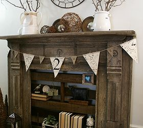 A faux fireplace with pallet shelving. | Hometalk