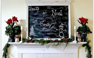 christmas mantel turn a mirror into a chalkboard for a one of a kind display, chalk paint, chalkboard paint, christmas decorations, crafts, seasonal holiday decor, Christmas Mantel 2012