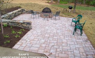 stonework firepit and paver patio, concrete masonry, landscape, outdoor living