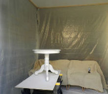 budget friendly spray paint booth, diy, how to, painted furniture, First item sprayed with the paint gun in the paint booth